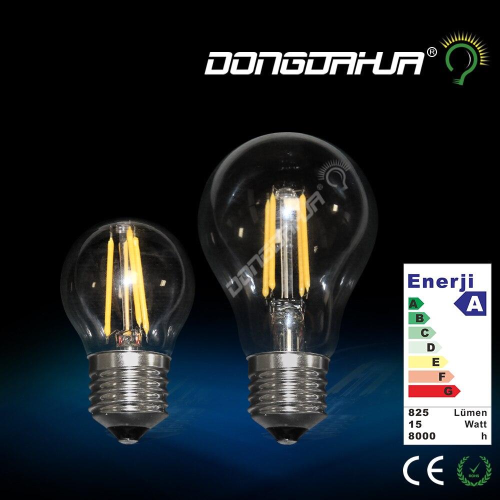 led e27 filament light a60 220 v 240 w 4 w 6w edison lamp G45 lamp bulb ancient back vintage e14 glass led light bulb