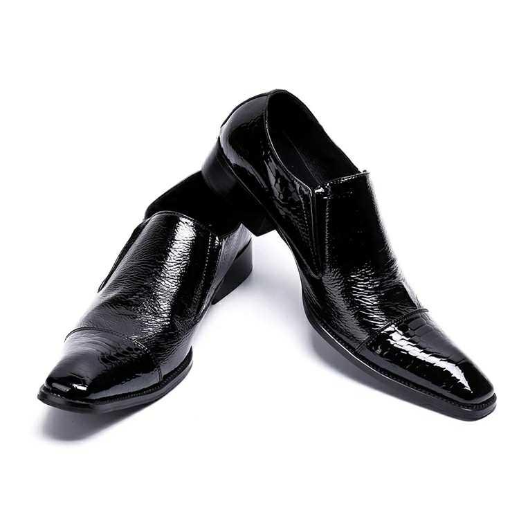 Akamatsu Embossed Genuine Leather Formal Business Men Shoes Square Toe Slip On Men Dress Loafers Black Office Men Shoes faux leather embossed panel formal shoes page 1
