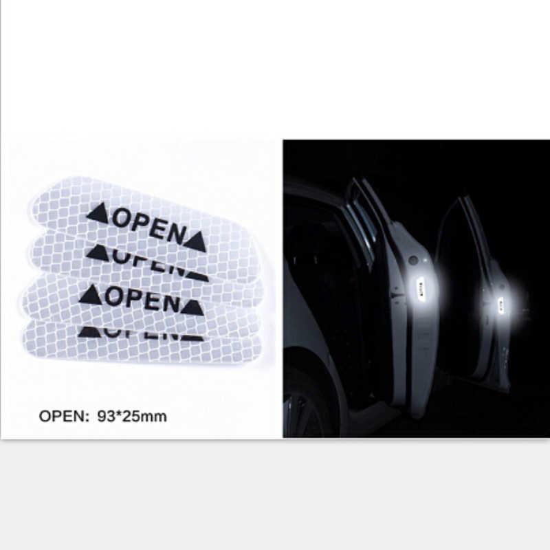 4 pièces voiture porte avertissement sécurité autocollants réfléchissants autocollant ouvert pour Dacia duster logan sandero stepway lodgy mcv 2 dokker