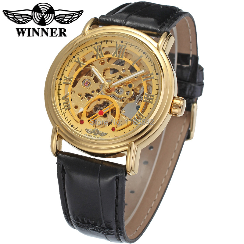 New Winner Casual Automatic Watches Men Hot sale gold Automatic fashion Men Watch leather strap Shipping