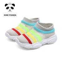 KINE PANDA/Обувь для маленьких мальчиков и девочек 1, 2, 3 лет, летняя обувь для мальчиков и девочек, Легкая сетчатая обувь в радужную полоску