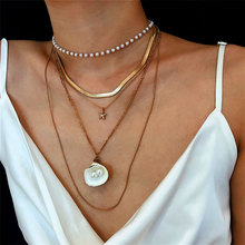 Personality Scallop Pendant Necklace Pearl Multilayer Choker Necklace for 2019 Women Fashion Charm Unique Jewelry Gift