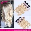 Grau 8a carina hair 613 cabelo virgem loira raízes escuras ombre loira brasileira do cabelo 3 pçs/lote ombre extensão do cabelo frete grátis