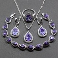 Fashion 925 Sterling Silver Four Piece Women Jewelry Set Water Drop Purple Amethyst Earring Pendant Necklace Bracelet Ring JS80