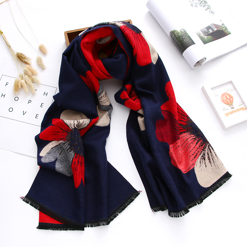 New Style 2019 Floral Women Scarf Winter Shawls And Wraps Thick Warm Double-sides Pashmina Oversized Blanket Scarf Echarpe Femme