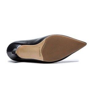 Image 5 - Ince tasarım hakiki deri avrupa tarzı yüksek topuklu ince oxford sivri burun fermuar beyaz siyah renk orta buzağı çizmeler l27