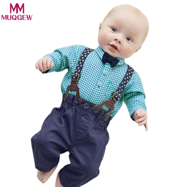 d68776252eb39 Baby Boy Clothes 2018 Spring New Brand Gentleman Plaid formal Clothing Suit  For Newborn Baby Bow