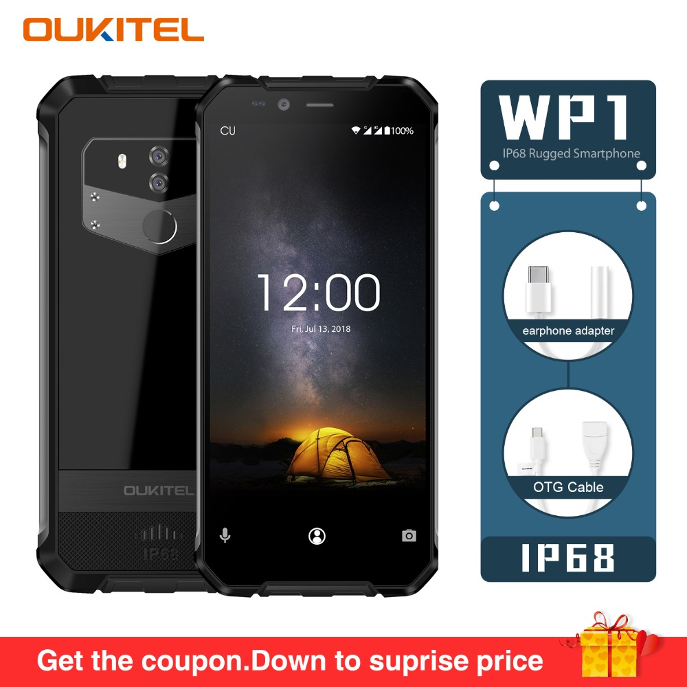 "OUKITEL WP1 IP68 Waterproof Octa Core 4GB 64GB Phone 5000mAh 5.5"" HD+ 18:9 Display 13MP+5MP Wireless Charging 4G LTE Smartphone"