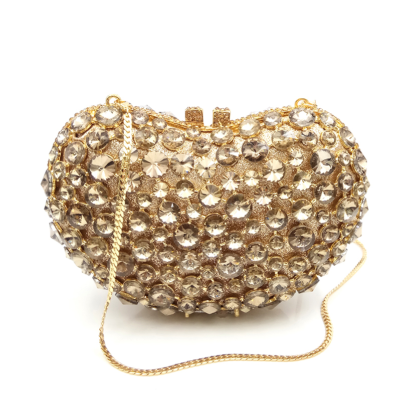 Bridal wedding party purse women evening party bag diamonds luxury heart shape crystal clutch elegant ladies