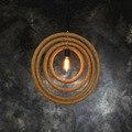 Ретро индустрия ресторанная лампа многослойная маленькая круглая креативная Европейская ресторанная пеньковая одинарная Подвесная лампа...