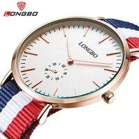 L ONGBOผู้ชายหรูแคชชวลอะนาล็อกนาฬิกาข้อมือนาโตไนล่อนสายนาฬิกาข้อมือสาวเจนีวาควอตซ์นาฬิกาหน...