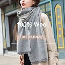 hot deal buy plaid 100% wool scarf for women winter shawls and wraps ladies luxury brand soft thick pashmina capes plaid warm scarf wool wrap