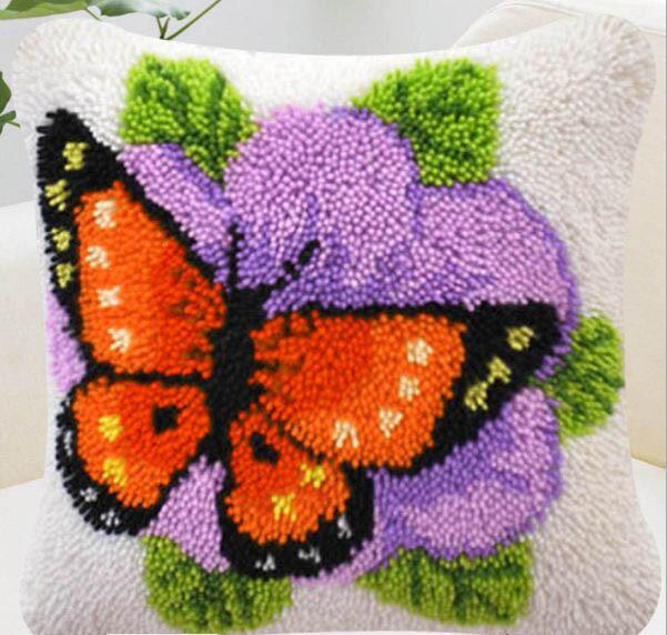 Diy Latch Hook Rug Kits Embroidery Pillow Knitting Embroidery Cushion Kits Animals Crochet Butterflies