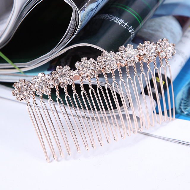 Fashion Rose Gold Wedding Bridal Hair Jewelry Accessories Clear