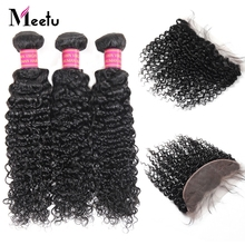 Meetu Malaysian Curly Hair Bundles with Frontal 100% Human Hair Bundles with Closure 3 Bundles with 13x4 Lace Frontal Non Remy