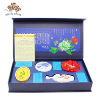 Xiefuchun Chinese Classic Makeup Set 4pcs Loose Powder Blusher Hair Care Essential Oil Sachet Tradtional Cosmetics