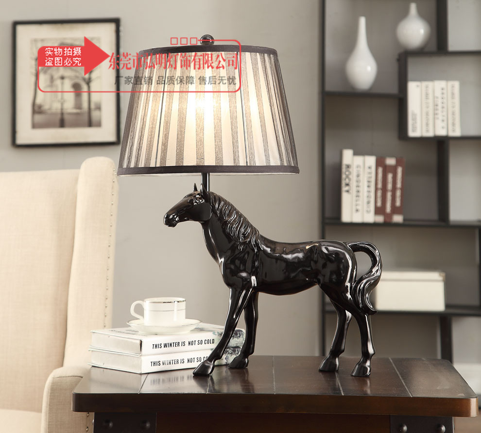 Lights & Lighting Cooperative Tuda 33x58cm Free Shipping Black Horse Resin Table Lamp For Sitting Room Bedroom American Country Style Decoration Table Lamp Regular Tea Drinking Improves Your Health Led Table Lamps