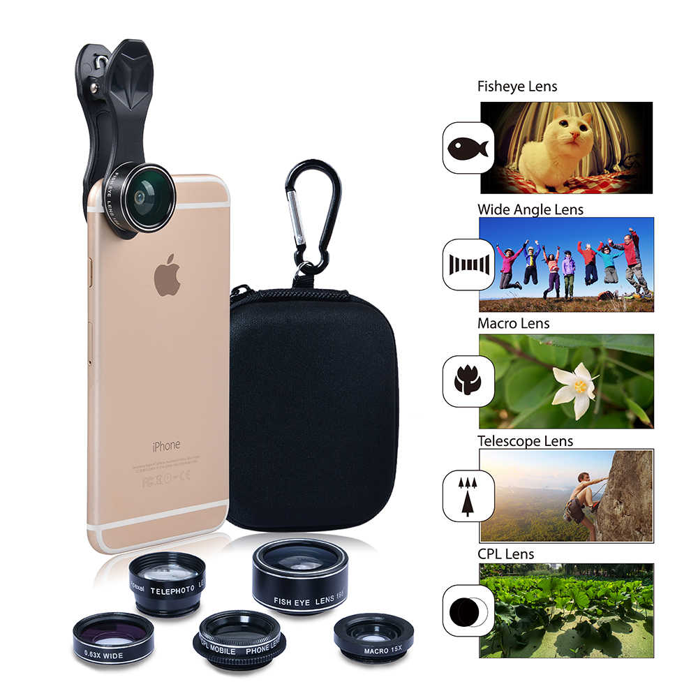 Apexel 5 ב 1 HD מצלמה עדשת ערכת Fisheye עדשה + 0.63x רחב זווית + 15x עדשת מאקרו + 2X עדשת טלה + CPL עדשה עבור iPhone סמסונג DG5
