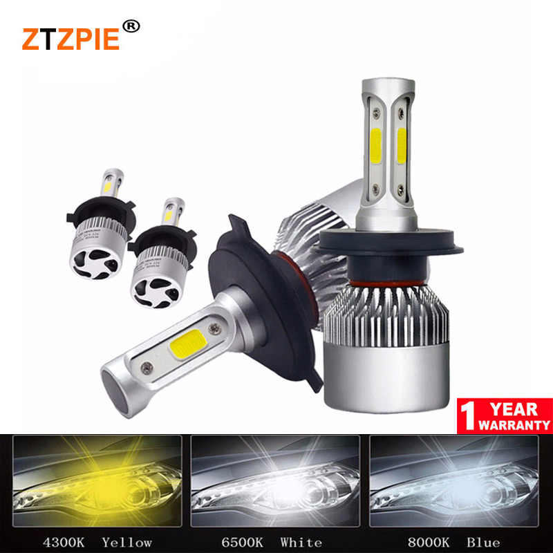72W 6500K 8000LM Turbo H1 H8 H4 H9 Led Lamp 12V S2 Car Front Headlight H3 H7 H11 9007 Led Bulbs H16 Super Bright COB Auto Light