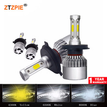 72 W 6500 K 8000LM Turbo H4 Светодиодная лампа 12 V S2 передние фары H3 H7 H11 9007 светодиодные лампы 9012 супер яркий COB Авто Voiture свет