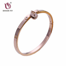 DANZE Titanium Stainless Steel Heart Bangle for Women No Fading Korean Cuff Rose Gold Color  Bracelets & Bangles Wedding Jewelry