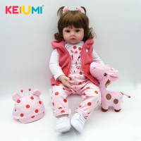 KEIUMI Baby Reborn Real Newborn Soft Silicone Reborn Baby Dolls Christmas Gifts Fashion Boneca Doll For Kids Cloth PP Body Toys