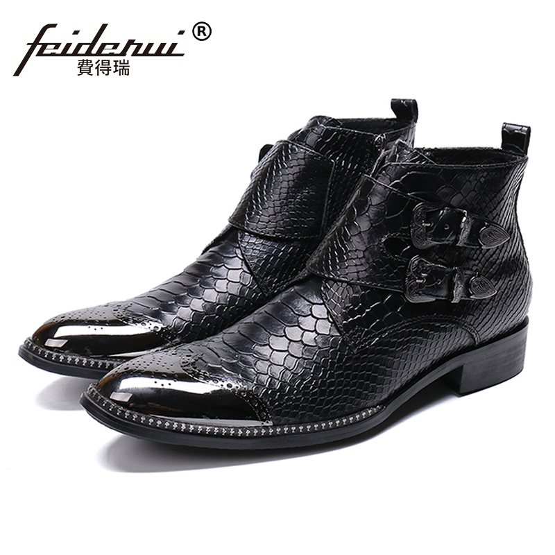 New Vintage Designer Handmade Man Brogue Footwear Round Toe High-Top Shoes Genuine Leather Mens Monk Straps Ankle Boots SL428New Vintage Designer Handmade Man Brogue Footwear Round Toe High-Top Shoes Genuine Leather Mens Monk Straps Ankle Boots SL428