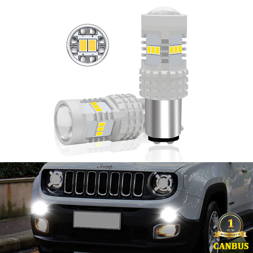 2Pcs 1157 <font><b>LED</b></font> <font><b>P21</b></font>/5W BAY15d <font><b>P21</b></font> 5W Daytime Running Light DRL Bulbs For 2015-up Jeep Renegade 6000K Xenon <font><b>Canbus</b></font> Error Free image