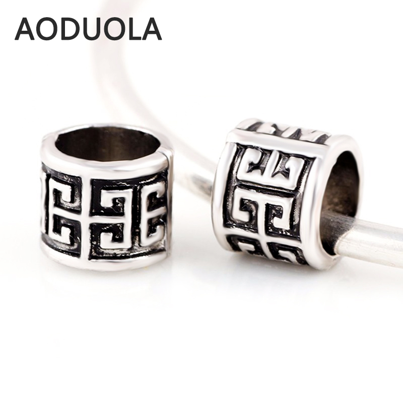 10 Pcs a Lot Big hole Alloy Beads Antique Silver Plated DIY European Charm Beads Spacer Bead Fit For Pandora Charms Bracelet