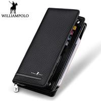 WILLIAMPOLO Long Genuine Leather Wallet Men Business Zipper Clutch Wallet Card Holder Cowhide Luxury Designer Male