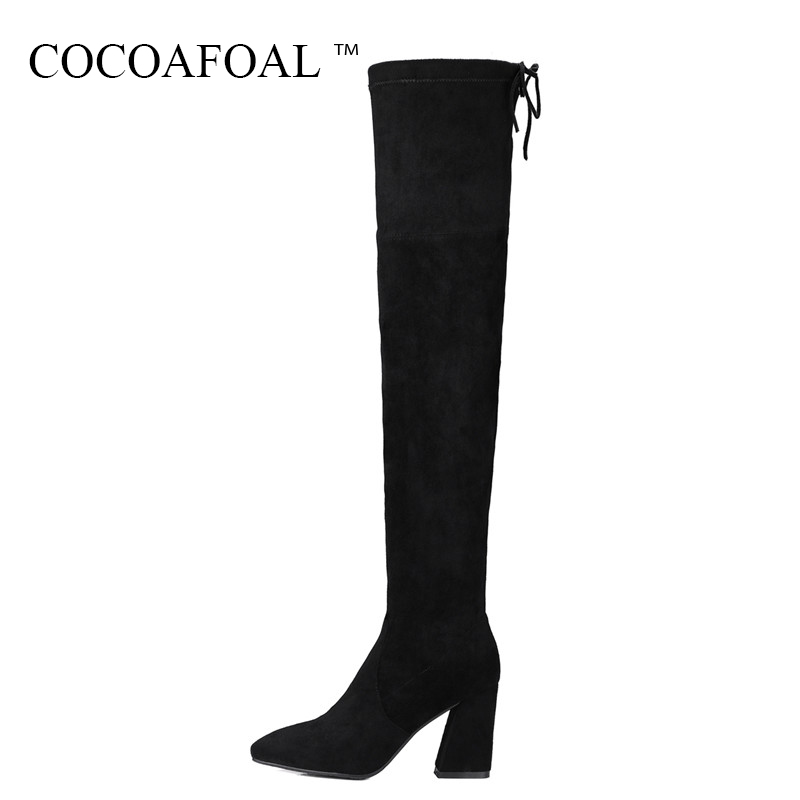 COCOAFOAL Women's Genuine Leather Over The Knee Boots Plus Size 33 40 Sexy Black Woman High Heeled Shoes Winter Thigh High Boots cocoafoal women sexy black high heeled shoes genuine leather thigh high boots plus size 33 41 winter chelsea over the knee boots