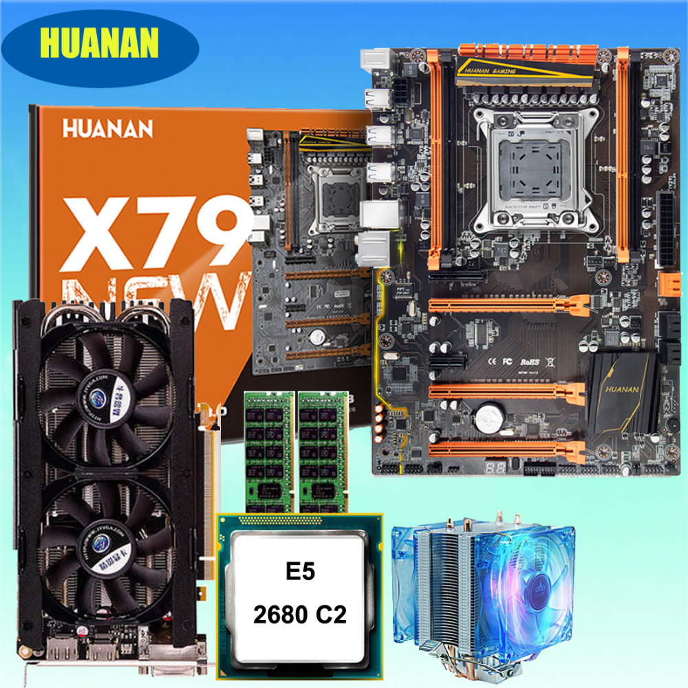 HUANAN ZHI deluxe X79 gaming motherboard Intel Xeon E5 2680 C2 with cooler RAM 16G(2*8G) DDR3 1600 RECC GTX760 4G video card термосумка thermos e5 24 can cooler 19л [555618] лайм