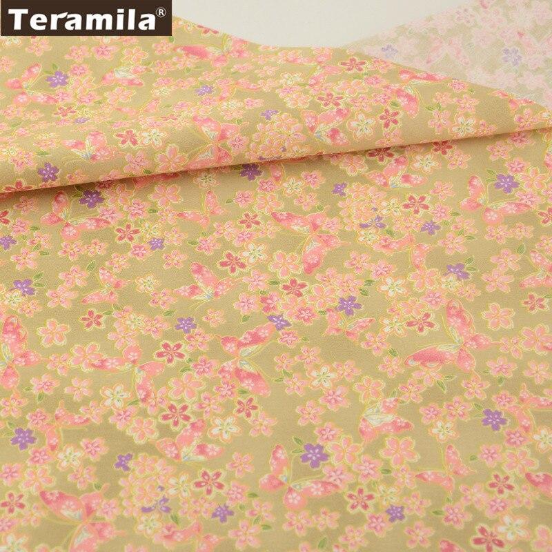 diseño floral y mariposas 100% orange y oro sábana tela de algodón trimestre gr