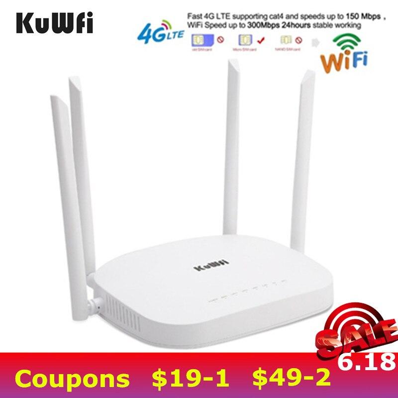 KuWfi 4G CPE Routeur 3G/4G LTE Routeur Wifi 300 Mbps Sans Fil Routeur CPE Avec 4 pièces Antennes Externes Support 4G pour Périphérique de RÉSEAU LOCAL