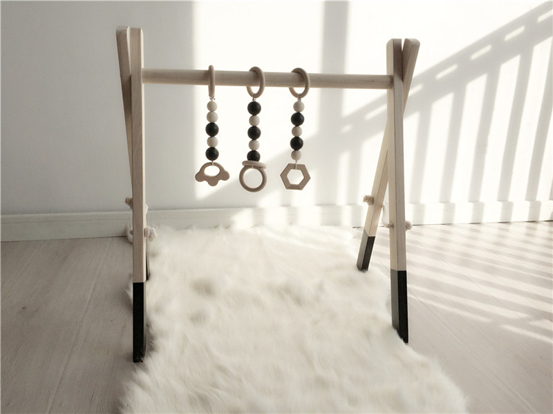 Hot Wooden Baby Gym With Accessories Play Gym Toy Nursery Decor Sensory Toy Accessories Kid s