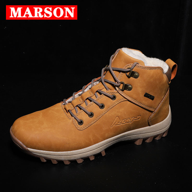 MARSON Men Boots Big Size 39-48 Autumn Winter Mens Leather Sneakers Lace Up Outdoor Men Shoes Waterproof Warm Plush Boots