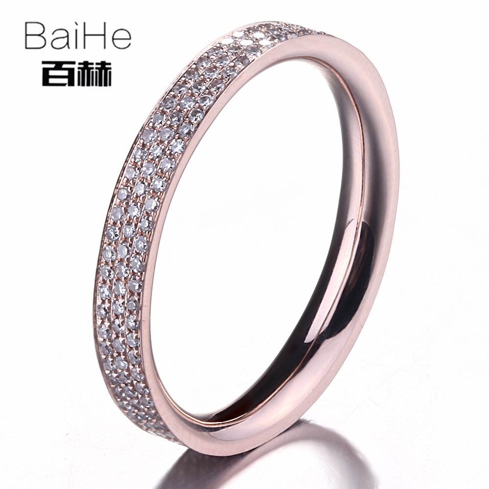BAIHE Solid 14K Rose Gold(AU585)0.45CT Certified H/SI Round Single Cut Genuine Natural Diamond Wedding Women Casual/Sporty Ring