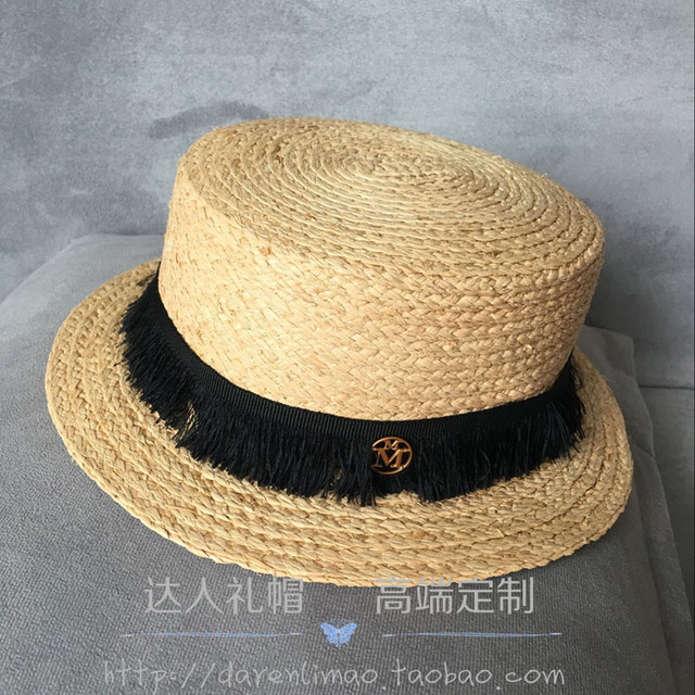 Natural puro oro doble M estándar lafite hierba corta largo del sombrero de paja topi sombrero femenino! Tasseled más delicado