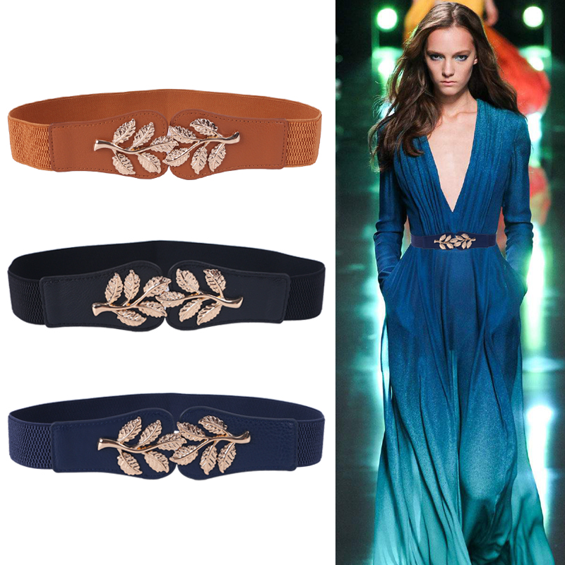 Fashion Leaf Waistbands Stretchy Lady HOT Elastic Cummerbunds For Women Dark Blue Belt Dress Gold Double Metal  Buckle Waistband