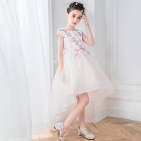 Flower Girl White Dress Kids Girls Princess Party Wedding Gowns for Children Graduation Ceremony Baby Kids Long Tail Formal Wear