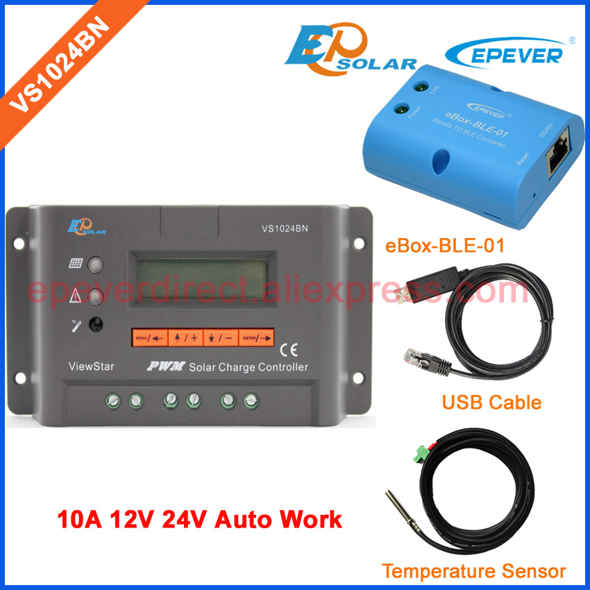 VS1024BN solar cell panel controller including USB cable and temperature sensor 10A 10amp 12V/24V BLE EPSolar/EPEVER epever solar controller portable charging tracer1215bn with usb cable and temperature sensor 10a 10amp mt50