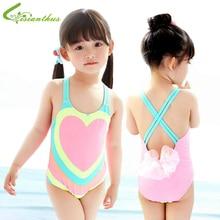 Vaikų maudymosi kostiumai mergaitėms vienos dalies širdies spausdintos bikini 2018 Vaikų maudymosi kostiumėliai mergaitėms kūdikių maudymosi kostiumėlį moterį nugaroje bikini