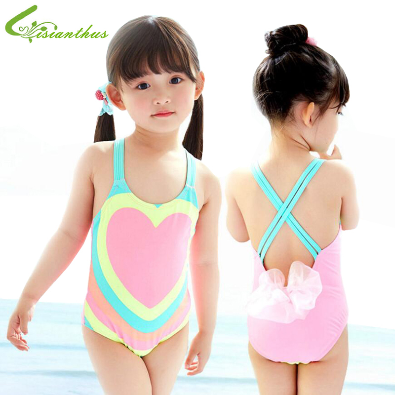 Kids Bathing Suits Girls One Piece Heart Printed Bikini 2018 Children Swimwear for Girls Infant Swim Suit Girl Backless Bikini