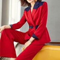Модный Блейзер костюм женский 2 шт. наборы темперамент строчка OL тонкий широкие брюки костюм женский спортивный костюм комплект