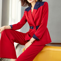 Fashion Blazer Suit women 2 pieces Sets Temperament Stitching OL slim Wide legged Pants Suit Women Sweat Suit Set