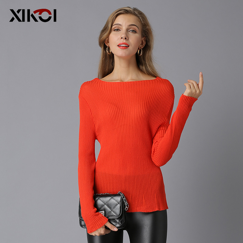2018 New Pullover Women Christmas Knitted Sweater Slash-Neck Pull Chandail Femme Blusas De Inverno Feminina Woman Solid Sweaters