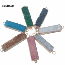 Wholesale 1 Pcs 7 Colors Rectangle 2 Circle Natural Druse Crystal Stone Pendant Irregular DIY Fit Necklace For Jewelry Making
