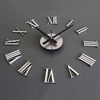 75d62cc82934 Tamaño de la decoración del hogar arte reloj caliente (color  oro) SZS de  DIY de 3D los números romanos del reloj de pared grande