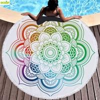 DEKOP Mandala Microfiber Large Round Beach Towel Toalla Microfibra Thick Terry Cloth Tassel Beach Blanket Serviette De Plage