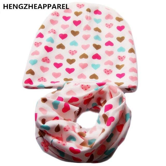 2017 new cotton star heart love ice cream print  baby beanies +scarf sets boys girls caps & collars suits children kids hats